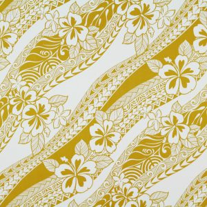 """100% Cotton. HC10726 features slanted rows of off white hibiscus flowers, plumeria flowers and tapa patterns on a spicy mustard background. (44/45"""" in width)"""