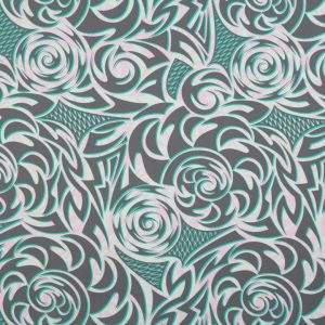 "65% Polyester/35% Cotton. HPC10545 features a tribal and tapa design in off white, soft pink, turquoise and grey. (44/45"" in width)"
